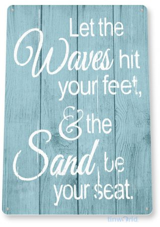 tin sign c059 waves feet sand rustic lake beach house cottage cabin cave tinworld tinsign_com