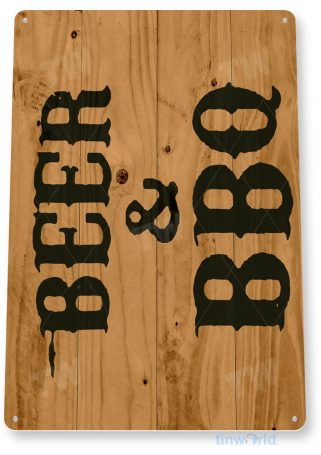 tin sign c070 beer & bbq rustic kitchen cottage cabin farm lake beach house cave tinworld tinsign_com