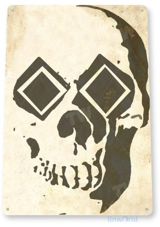 tin sign c086 double diamond skull rustic snow ski slope sign skiing cabin resort lodge tinworld tinsign_com