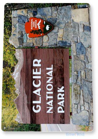 tin sign c096 glacier national park entrance sign souvenir tinworld tinsign_com