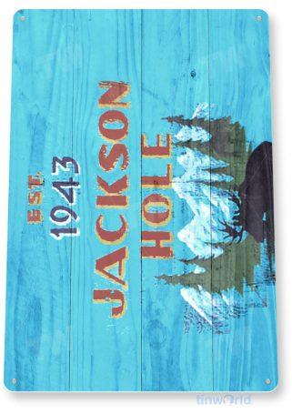 tin sign c108 jackson hole rustic snow ski slope sign skiing cabin resort lodge tinworld tinsign_com