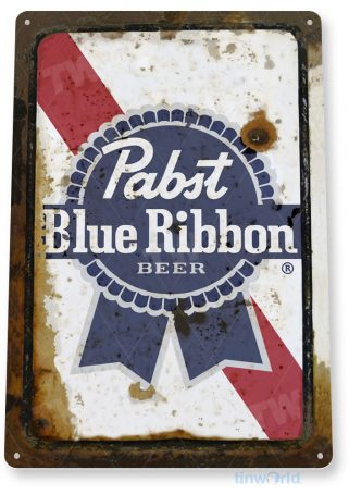 tin sign c133 pabst blue ribbon beer rustic retro bar pub beer brewery sign cottage cave tinworld tinsign_com