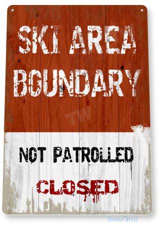tin sign c149 ski area boundary rustic snow ski slope sign skiing cabin resort lodge tinworld tinsign_com