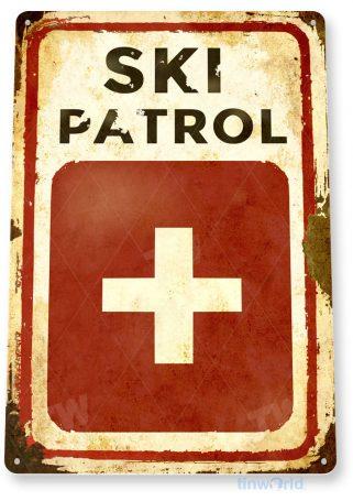 tin sign c150 ski patrol rustic snow ski slope sign skiing cabin resort lodge tinworld tinsign_com