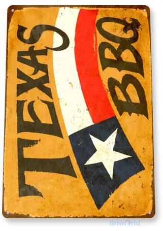 tin sign c159 texas bbq beef pit smoked sauce rustic tinworld tinsign_com