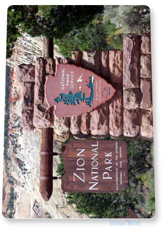 tin sign c176 zion national park entrance sign souvenir tinworld tinsign_com
