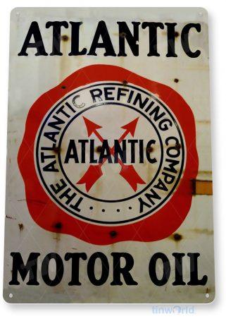 tin sign c182 atlantic motor oil retro rustic oil gas station sign garage auto shop cave tinworld tinsign_com