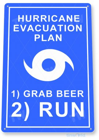 tin sign c206 hurricane evacuation plan rustic kitchen cottage farm lake beach house shop cave tinworld tinsign_com