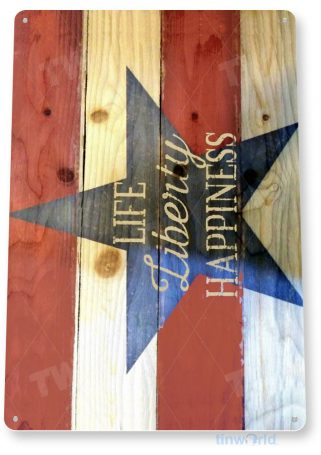 tin sign c213 life liberty happiness rustic kitchen cottage cabin farm lake beach house flag sign tinworld tinsign_com