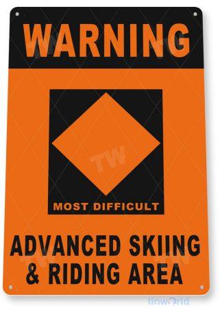 tin sign c238 warning advanced skiing rustic snow ski slope sign skiing cabin resort lodge tinworld tinsign_com