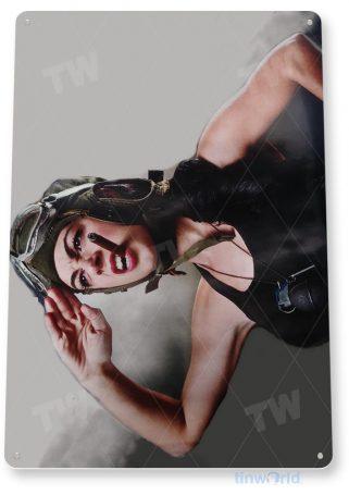 tin sign c242 american patriot pin-up military army pilot grenade girl tinworld tinsign_com