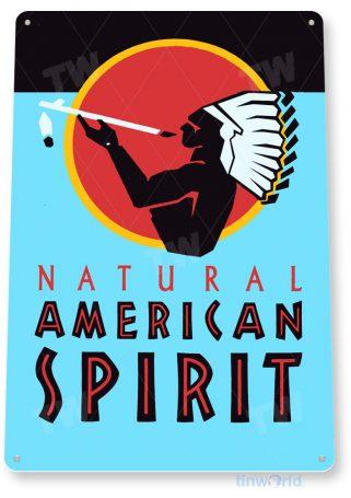 tin sign c243 american spirit cigarettes tobacco indian smoke cigar shop sign blue tinworld tinsign_com