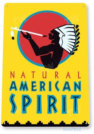tin sign c245 american spirit cigarettes tobacco indian smoke cigar shop sign yellow tinworld tinsign_com
