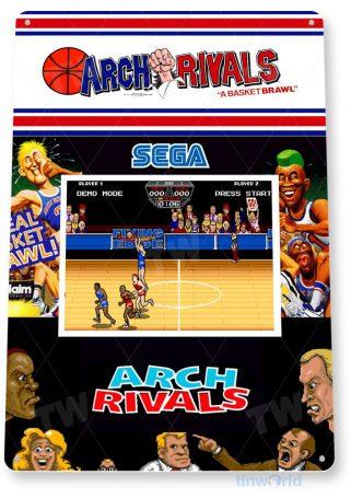 tin sign c247 arch rivals retro arcade gameroom console cabinet marquee tinworld tinsign_com