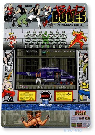 tin sign c250 bad dudes retro arcade gameroom console cabinet marquee sign tinworld tinsign_com