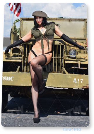 tin sign c271 check on duty military hot rod pin-up jeep usmc army girl tinworld tinsign_com