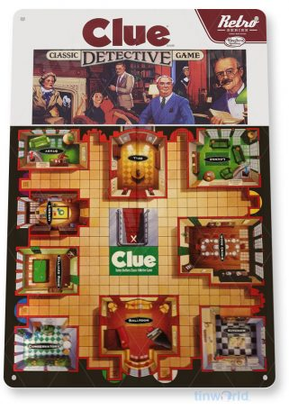 tin sign c272 clue classic retro game board detective gameroom sign tinworld tinsign_com