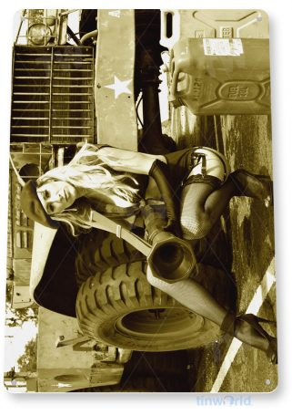 tin sign c313 safety off military hot rod pin-up jeep usmc army bazooka gun girl tinworld tinsign_com