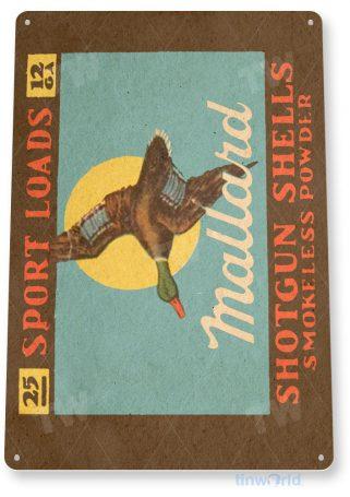tin sign c315 mallard shotgun shells retro box store ammo gun shop sign tinworld tinsign_com