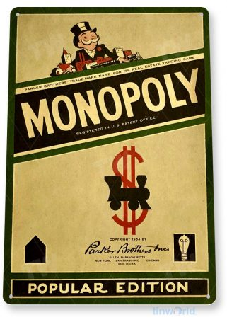 tin sign c319 monopoly classic retro board gameroom sign popular edition green tinworld tinsign_com