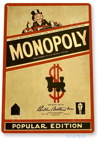 tin sign c320 monopoly classic retro game board gameroom sign popular edition red tinworld tinsign_com