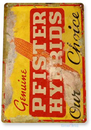 tin sign c331 pfister hybrids seed retro rustic feed seed store farm barn sign tinworld tinsign_com