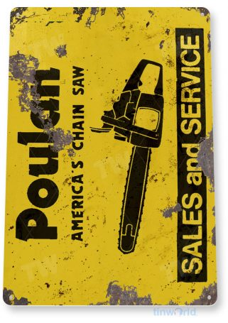 tin sign c334 poulan chain saw retro rustic tools equipment garage store shop sign tinworld tinsign_com