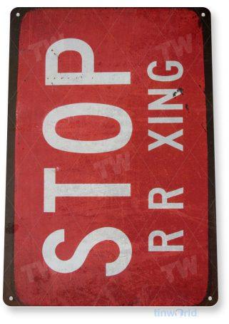 tin sign c350 stop railroad crossing retro rustic railroad station sign tinworld tinsign_com