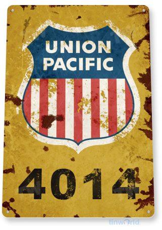 tin sign c357 union pacific 4014 retro rustic railroad station train sign tinworld tinsign_com