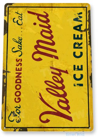 tin sign c358 valley maid rustic retro ice cream shop parlor store sign kitchen cottage tinworld tinsign_com