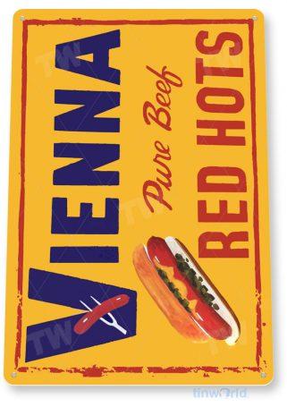 tin sign c359 vienna red hots hotdog beef retro kitchen cottage sign tinworld tinsign_com