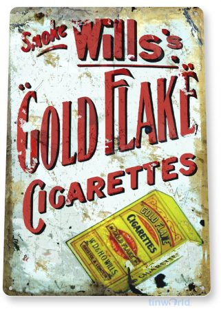 tin sign c365 wills's gold flake cigarettes rustic retro tobacco smoke cigar bar shop sign tinworld tinsign_com