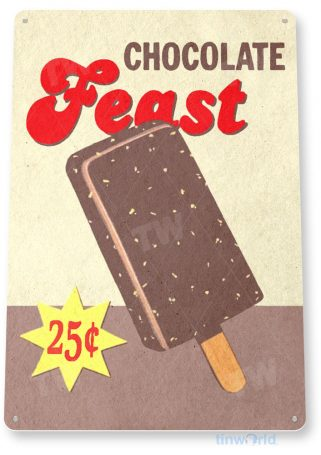 tin sign c387 chocolate feast popsicle rustic retro ice cream bar parlor sign kitchen cottage tinworld tinsign_com