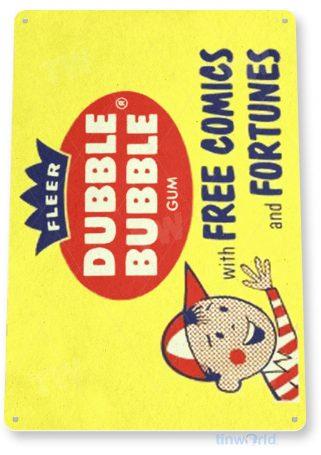 tin sign c390 double bubble fortune comics gum vintage retro kitchen cottage store tinworld tinsign_com