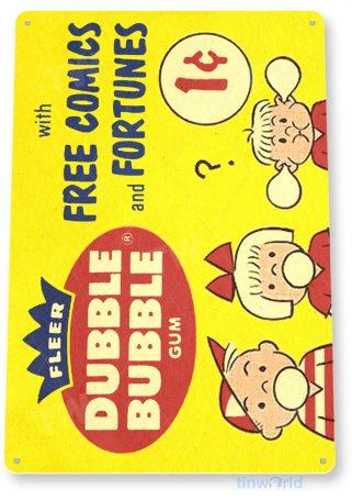 tin sign c391 double bubble fortune comics gum vintage retro kitchen cottage store 1c tinworld tinsign_com