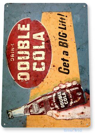 tin sign c392 double cola retro rustic cola soda store beverage bar sign kitchen cottage farm cave tinworld tinsign_com