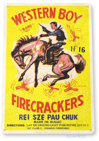 tin sign c398 western boy firecrackers fireworks 4th july new years firework stand tinworld tinsign_com