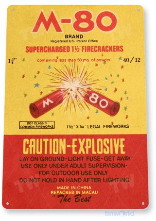 tin sign c407 m-80 firecrackers fireworks 4th july new years firework stand tinworld tinsign_com