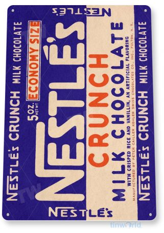 tin sign c418 nestle.s crunch chocolate candy bar kitchen cottage store tinworld tinsign_com