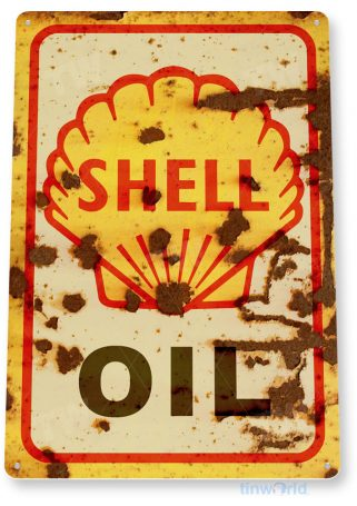 tin sign c429 shell oil retro rustic oil gas station sign garage auto shop cave tinworld tinsign_com