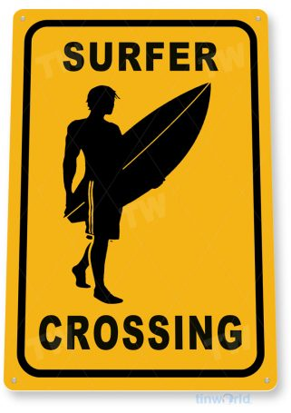 tin sign c434 surfer crossing surfing surf board beach house bar tinworld tinsign_com