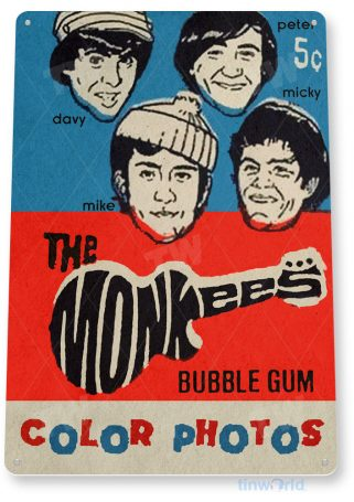 tin sign c437 the monkees bubble gum retro vintage kitchen cottage store rock band tinworld tinsign_com