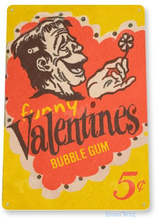 tin sign c439 valentines bubble gum vintage retro kitchen cottage store tinworld tinsign_com