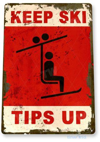 tin sign c447 ski tips up skiing ski lift slopes patrol resort lodge sign tinworld tinsign_com