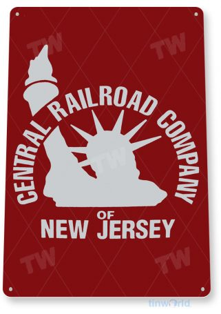 tin sign c460 central railroad new jersey rustic retro vintage railroad shop store sign tinworld tinsign_com