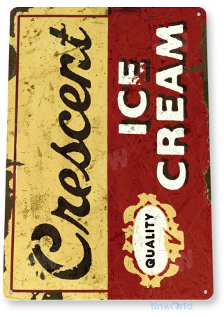 tin sign c464 cresent ice cream vintage retro ice cream parlor sign kitchen cottage tinworld tinsign_com