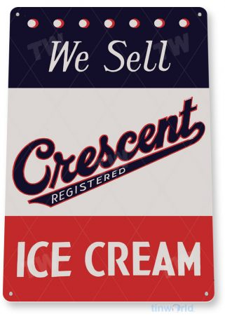tin sign c466 cresent ice cream vintage retro ice cream parlor sign kitchen cottage 3 tinworld tinsign_com