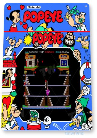 tin sign c494 popeye arcade arcade game room shop marquee sign retro console tinworld tinsign_com
