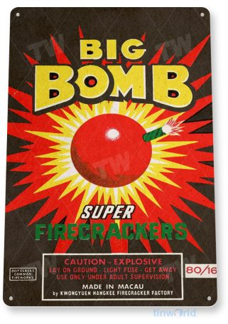 tin sign c522 bigbomb firecrackers fireworks stand booth 4th july independence day new years tinworld tinsign_com