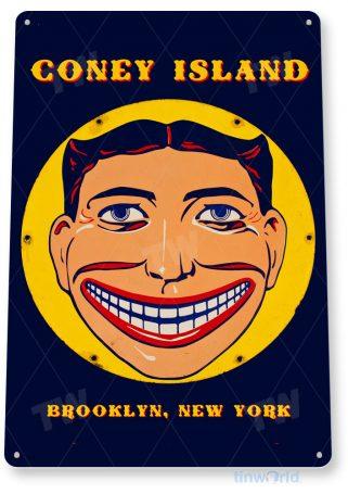 tin sign c528 coney island brooklyn new york historic carnival fair rollercoaster rides tinworld tinsign_com